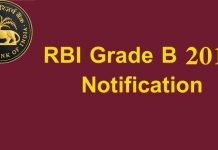 RBI grade b notification 2019