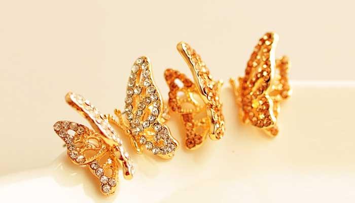 butterfly golden earings