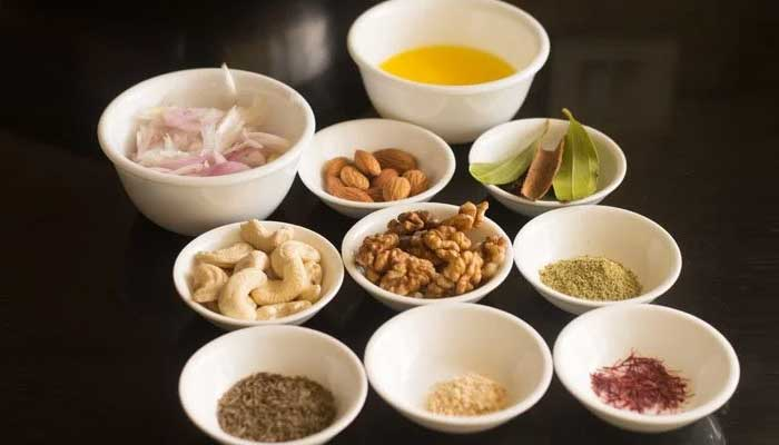 veg briyani ingredients