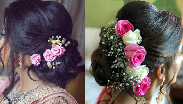 use flowers on hairstyle
