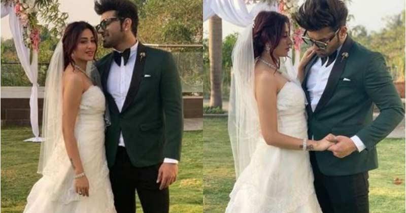 paras chhabra and mahira sharma in wedding attire