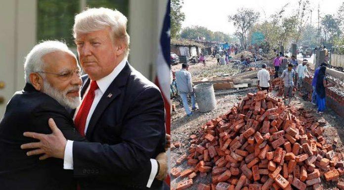 wall rise in ahmedabad ahead of donald trump visit