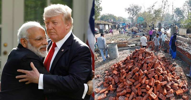 wall rise in ahmedabad ahead of donald trump visit