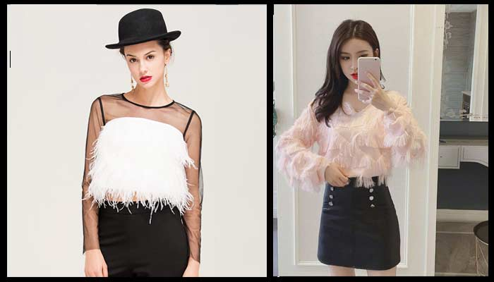 feather tops women