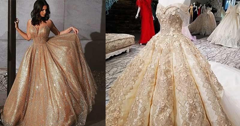 golden dress look