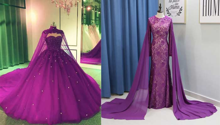 purple gown with cape