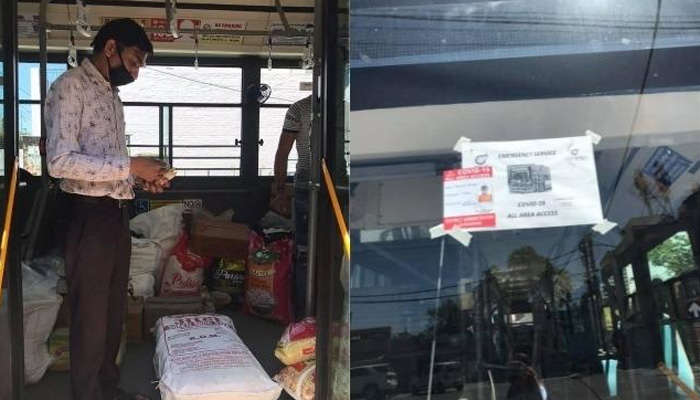 gurugram mobile grocery bus take care during covid 19 lockdown