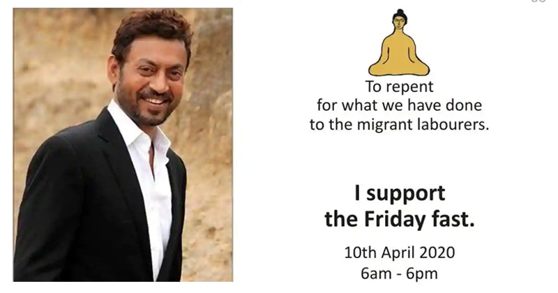 irrfan khan friday fast for migrant labourers