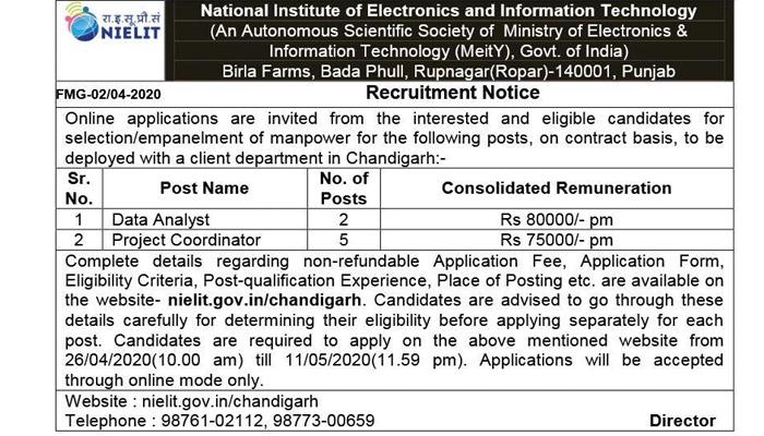 nielit recruitment 2020  data analyst vacancy project coordinator jobs