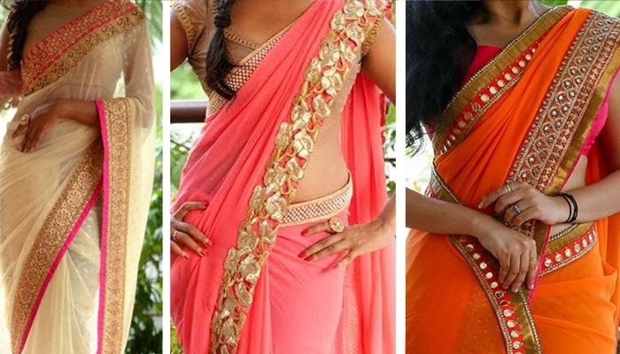 saree with less plates