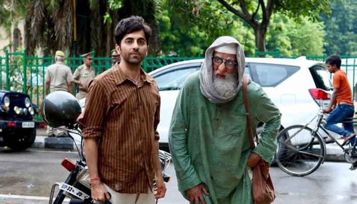 Amitabh Bachchan (right) with Ayushmann Khurrana in 'Gulabo Sitabo