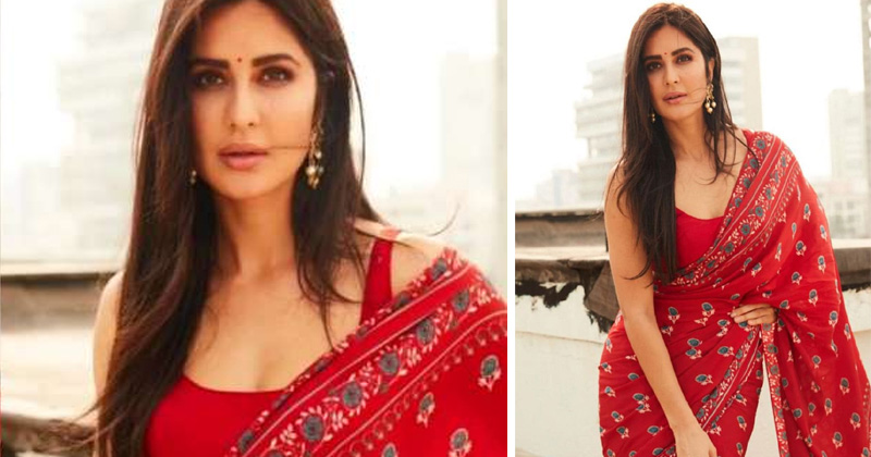 Katrina Kaif Red Printed Saree