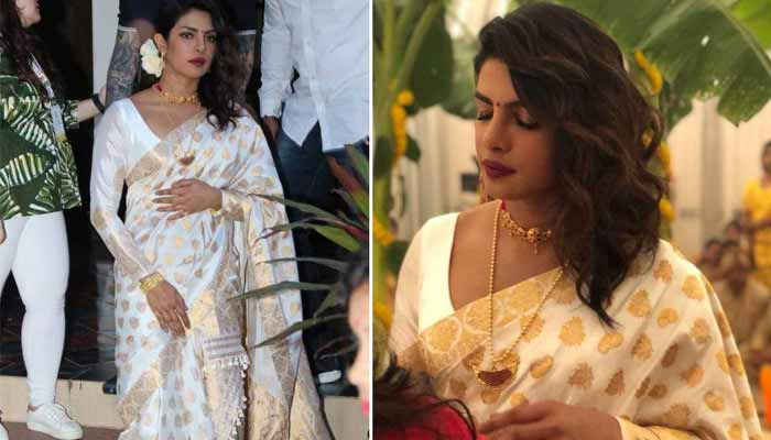 Priyanka Chopra in assam moonga silk saree