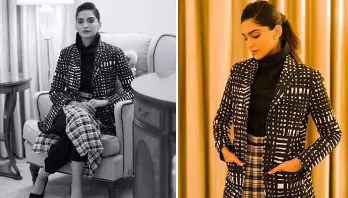 Sonam Kapoor In Black Printed Coat