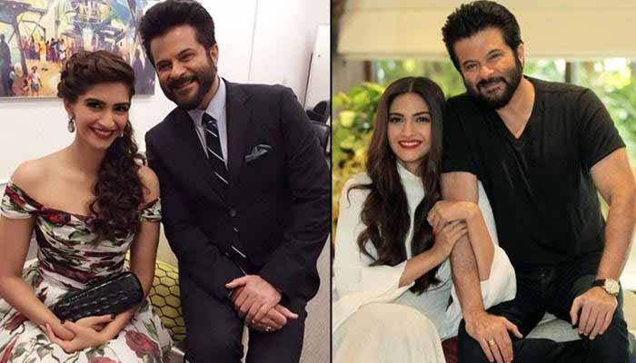 Sonam Kapoor With Anil Kapoor at home