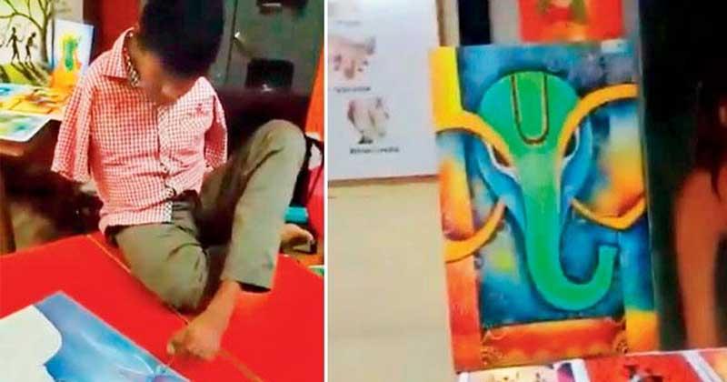 born without hands chhattisgarh artists gokaran patil