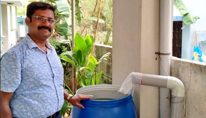 chennai engineer diy rainwater harvesting system low cost india