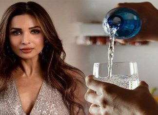 Malaika Arora telling the Fans the right way to drink water