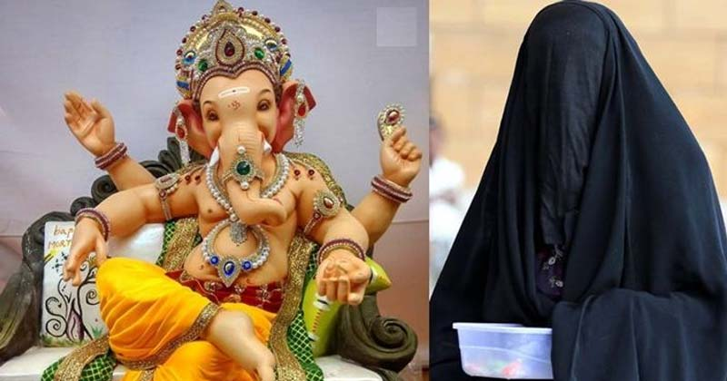 Muslim Woman Breaks Statue Of Ganesha