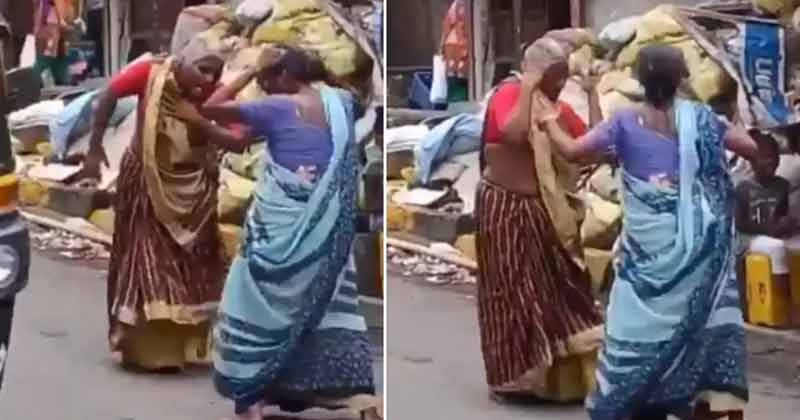 Two elderly women dance to Asha Bhosle's hit song