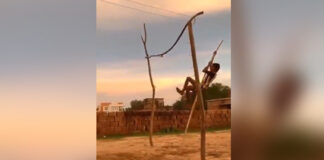 Village Kids Palying Pole Vault