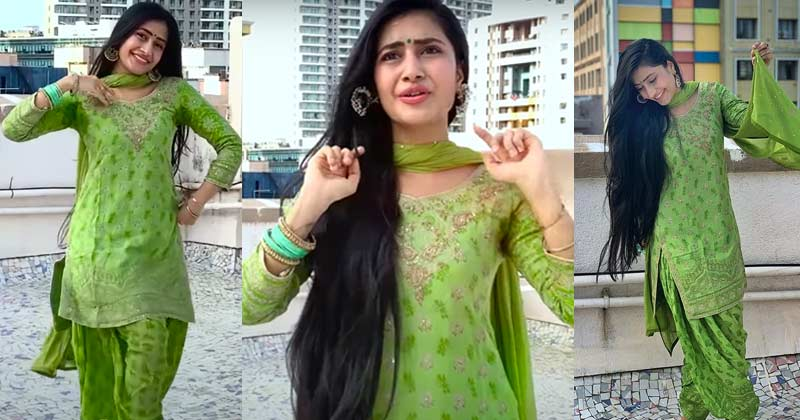 Dhanashree Verma Viral Video In Green Suit On Youtube