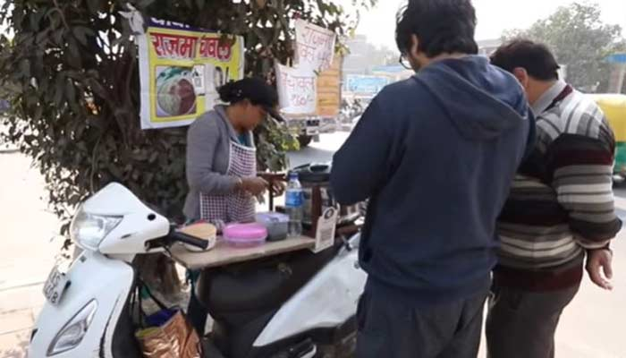 Sarita Kashyap Serving Rajma Chawal In Scooty