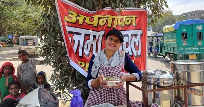 Sarita Who Serving Rajma Chawal On Her Scooty