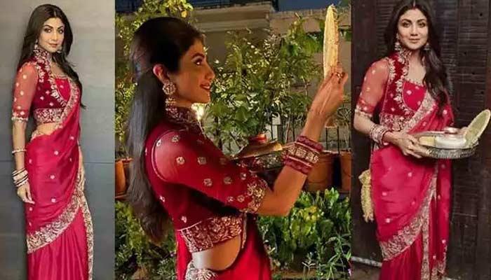 Red Dress On Karwa Chauth