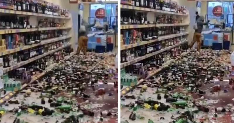 Woman Smashes 500 Bottles Of Liquor