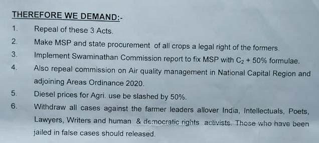 Farmers Demands To Modi Goverment
