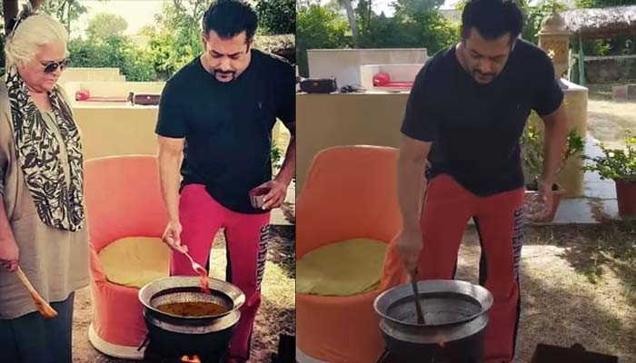 Salman Khan Making Food In Chulha