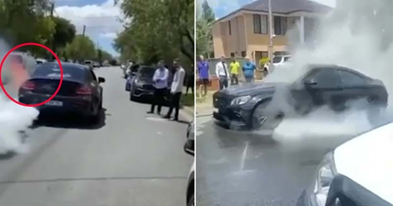 Mercedes Bursting Into Flames