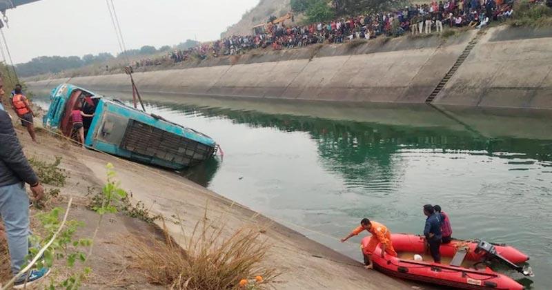 Madhya Pradesh Bus Falls Into Canal