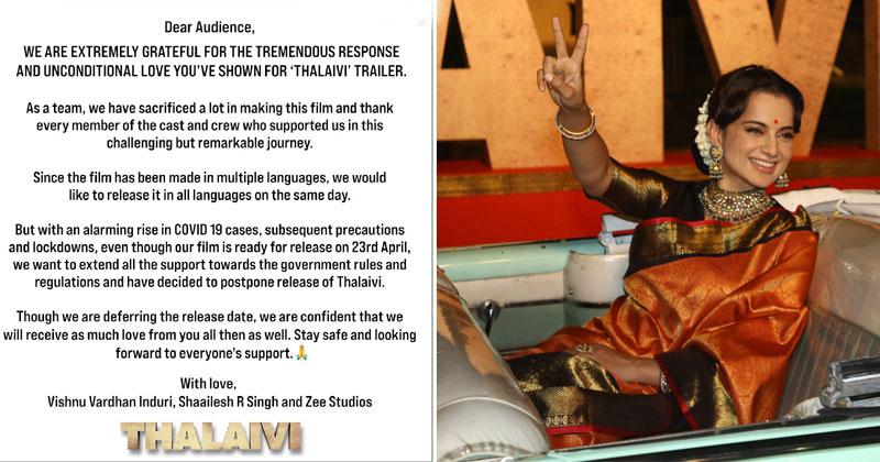 Kangana Ranauts Thalaivi Release Postponed