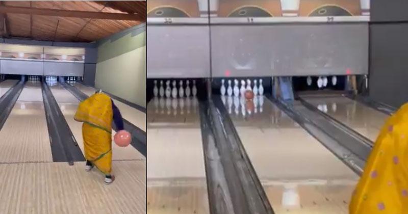 Old Grandma Bowling In Saree Goes Viral