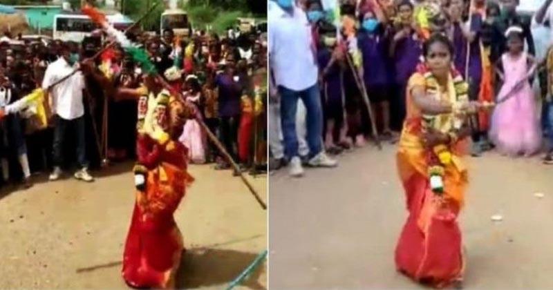 Bride Performs Martial Arts In Wedding Saree In Tamil Nadu