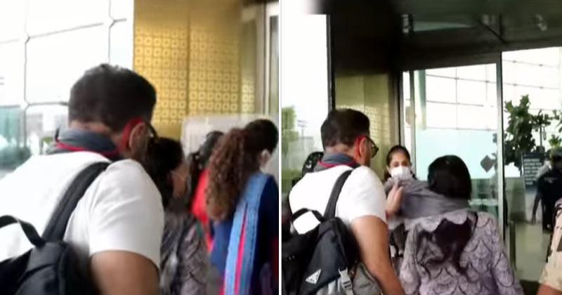 Sunny Deol helps mom Prakash Kaur with her dupatta at airport