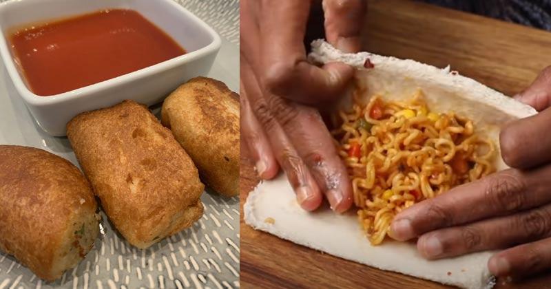 Maggi Cheese Bread Puff Recipe In Hindi