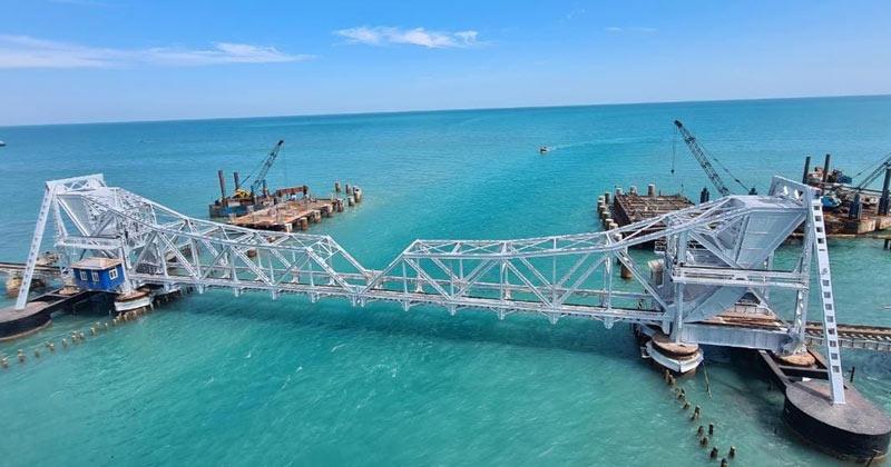 India first vertical lift Railway sea Pamban railway bridge