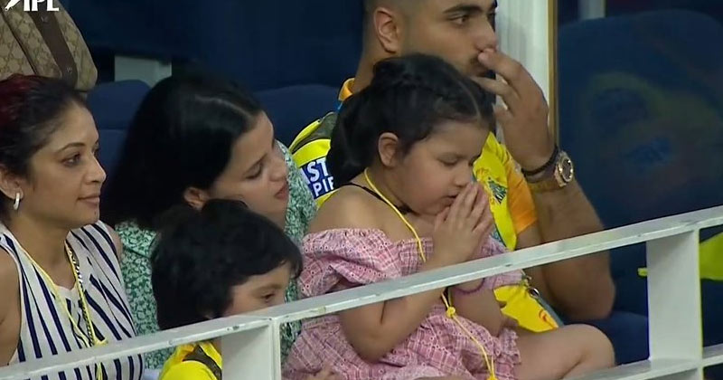 MS Dhoni's daughter Ziva spotted praying for CSK